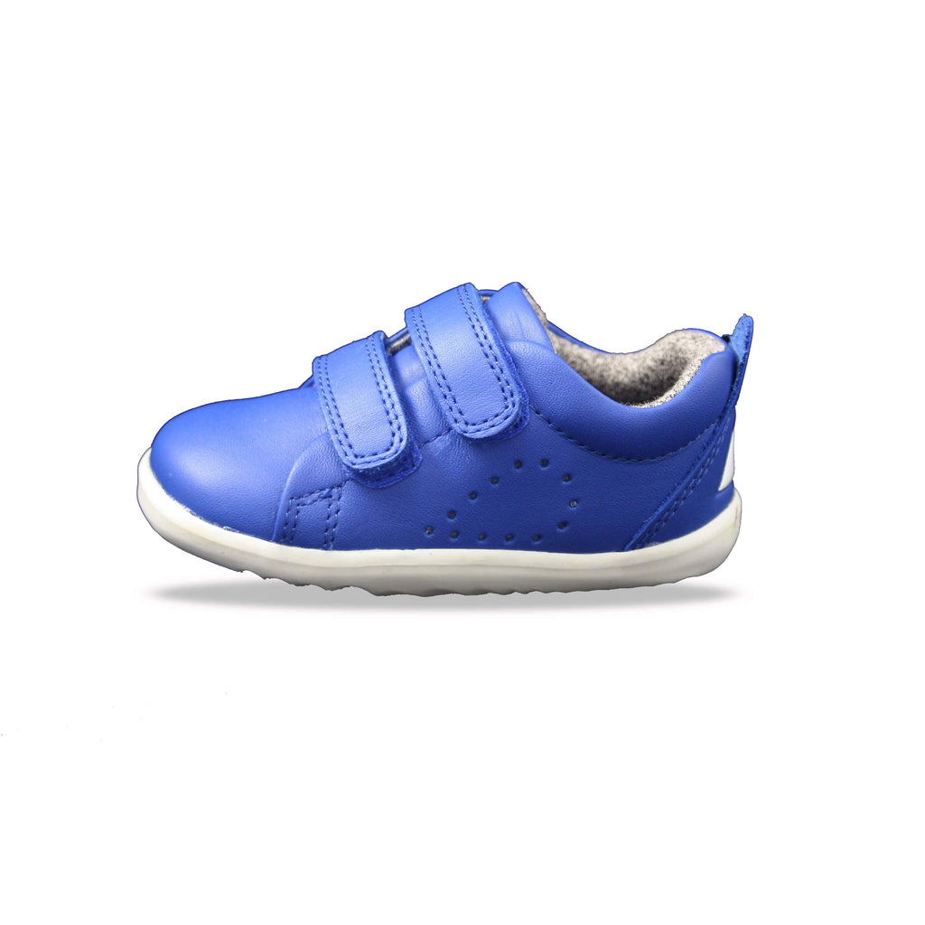Bobux Step Up Grass Court Sapphire Blue barefoot children's shoes. From Cooshoo fitted childrens shoes. Side view.