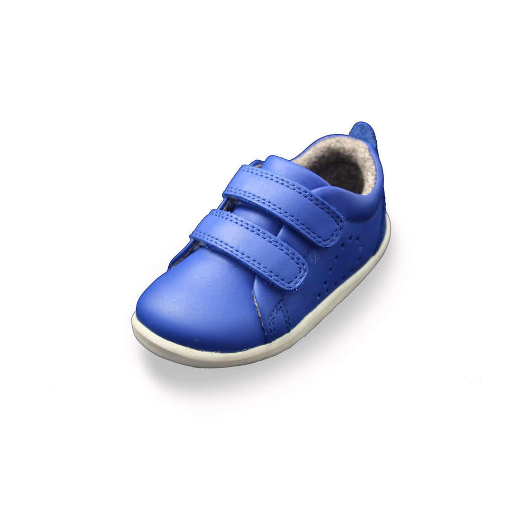 Bobux Step Up Grass Court Sapphire Blue barefoot children's shoes. From Cooshoo fitted childrens shoes.