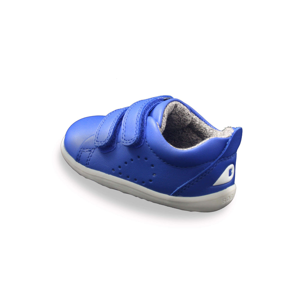 Bobux Step Up Grass Court Sapphire Blue barefoot children's shoes. From Cooshoo fitted childrens shoes. Heel view.