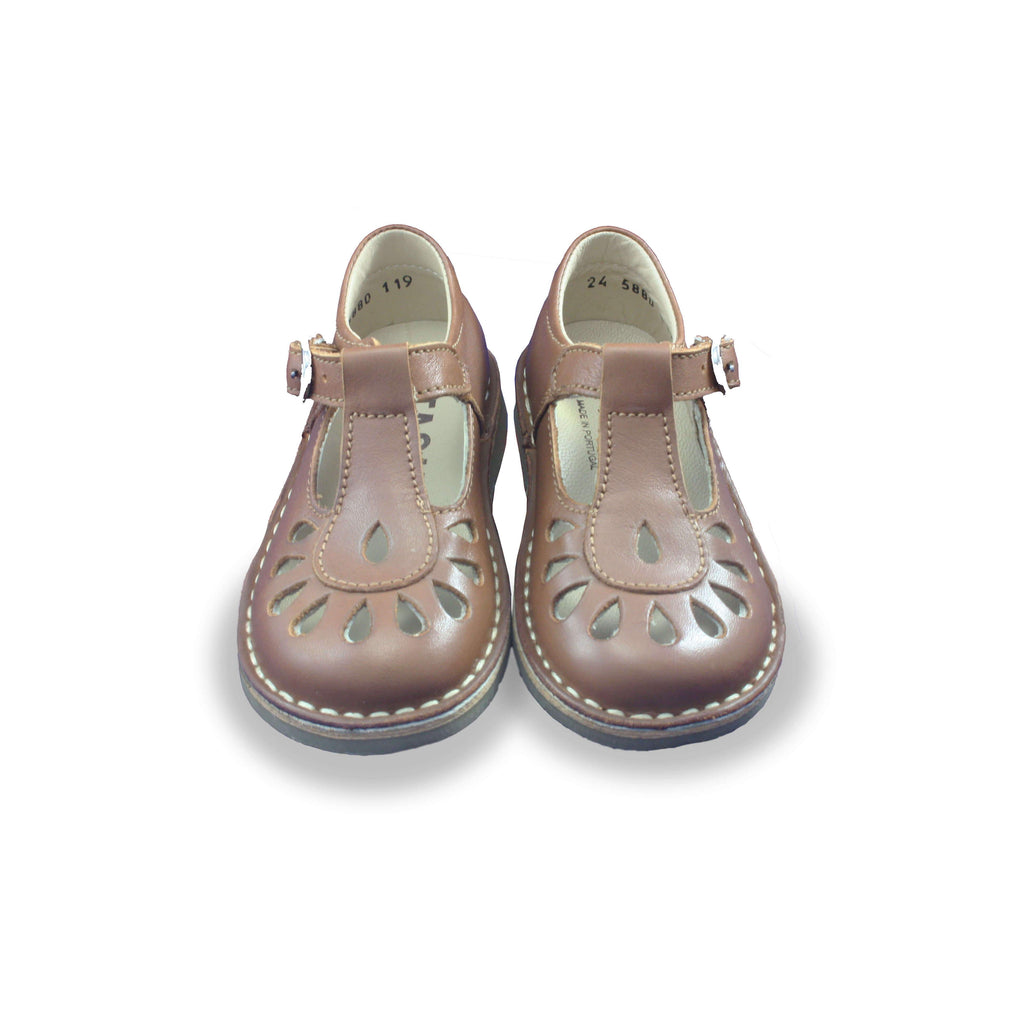 Pair of Petasil Darcy Camel T-Bar Shoes children's shoes. From Cooshoo kids shoes.