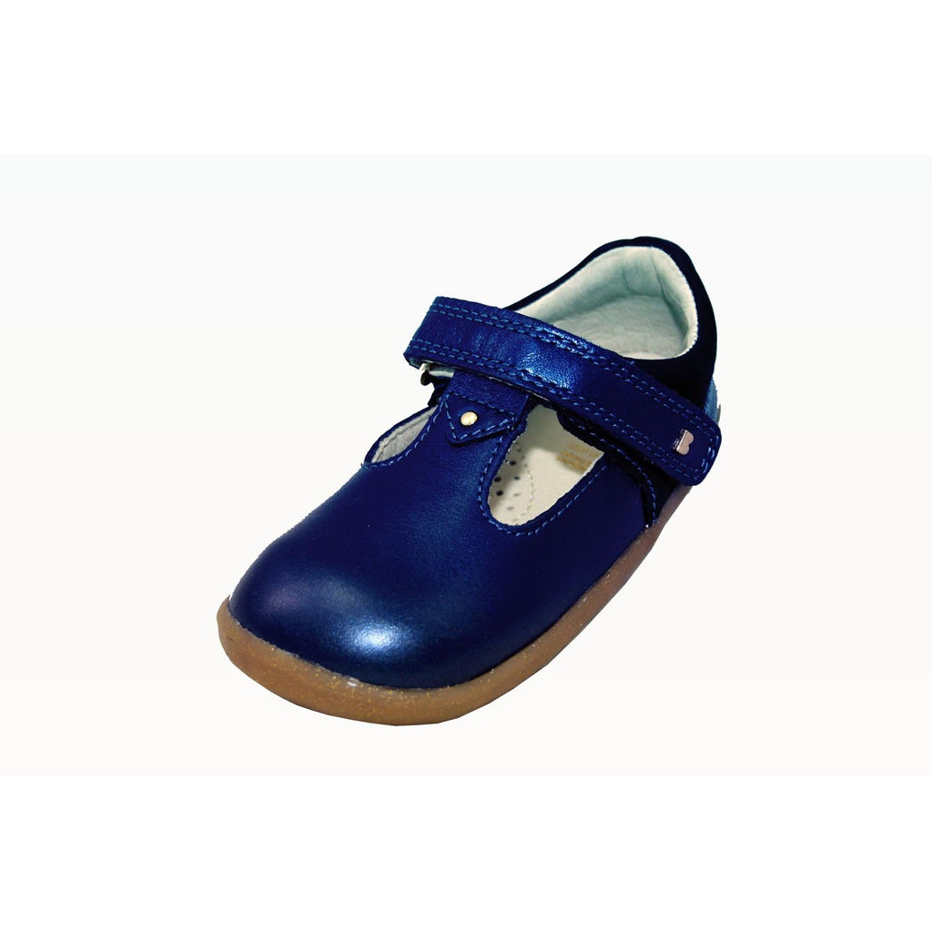 Bobux Step Up Louise Navy Shimmer T-Bar Shoes. From Cooshoo kids shoes.