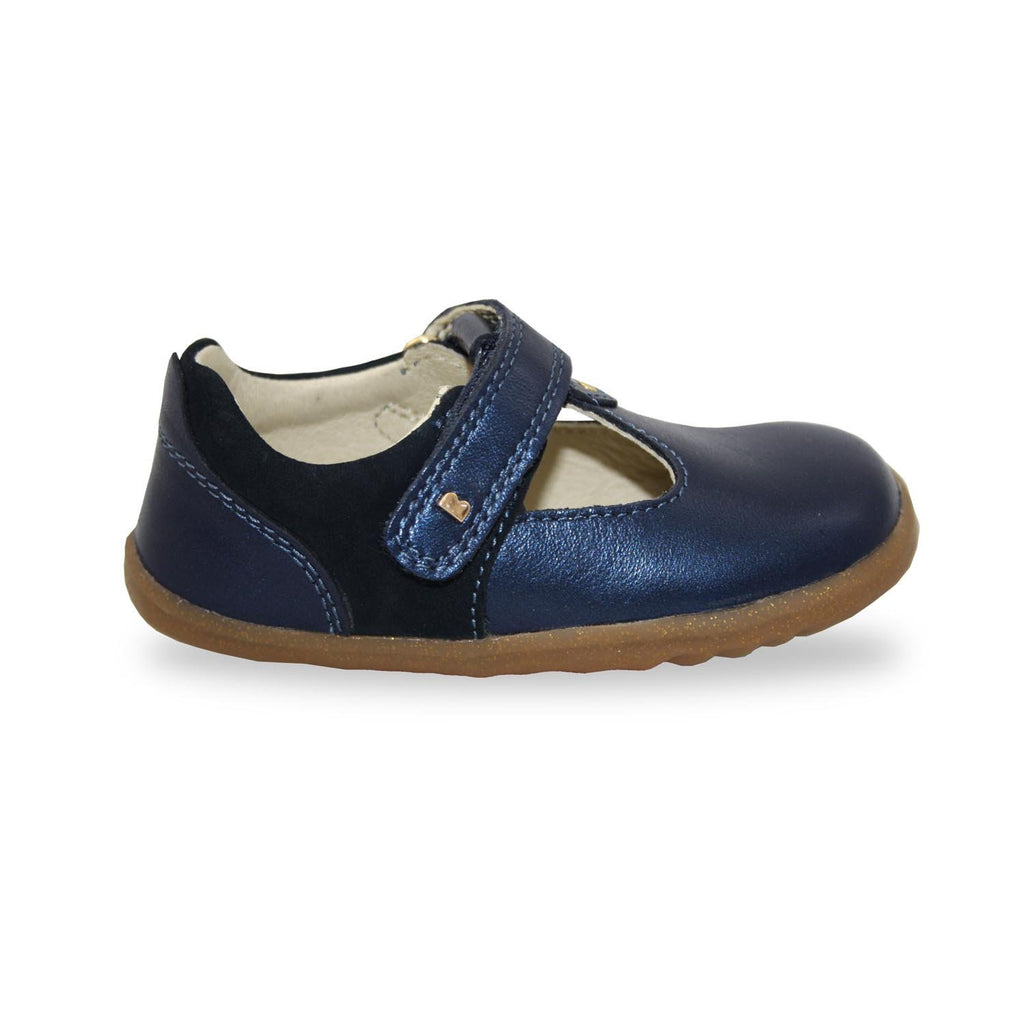Profile of Bobux Step Up Louise Navy Shimmer T-Bar Shoes. From Cooshoo kids shoes.