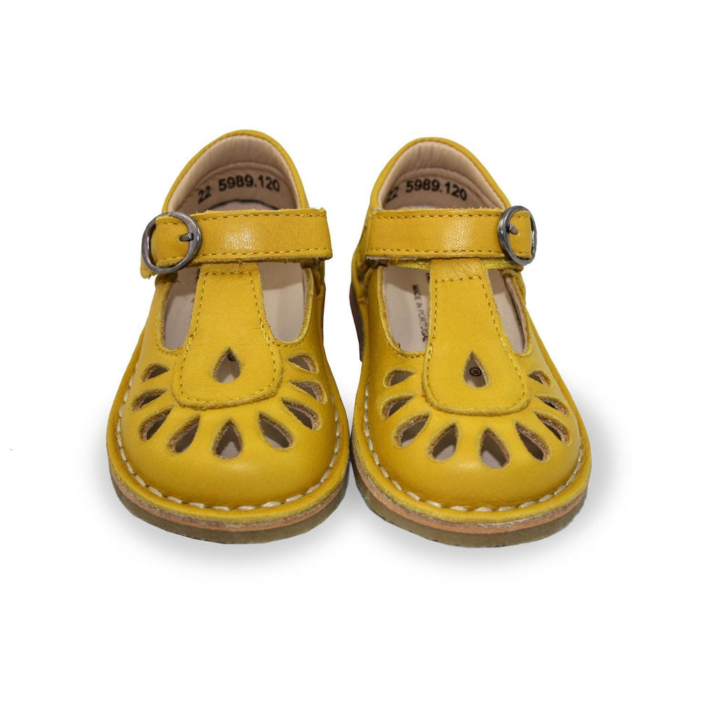 Pair of Petasil Darcy Yellow T-Bar Shoes children's shoes. From Cooshoo kids shoes.