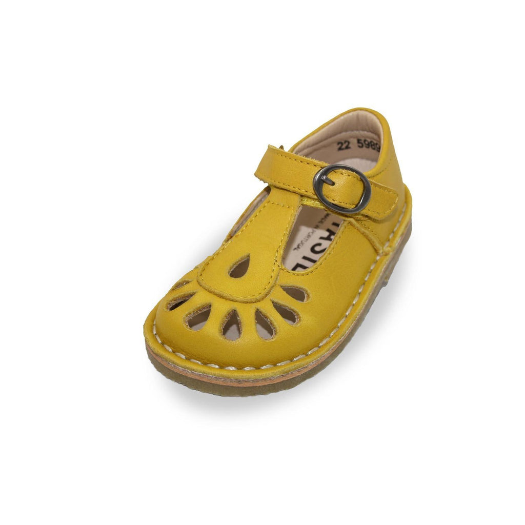Petasil Darcy Yellow T-Bar Shoes children's shoes. From Cooshoo kids shoes.