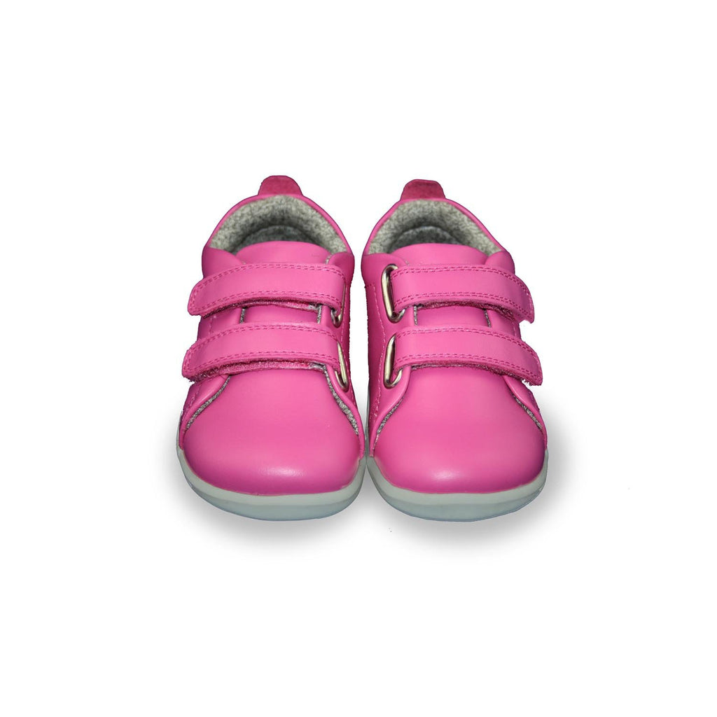 Pair of Bobux Step Up Grass Court raspberry barefoot shoes. From Cooshoo kids shoes.