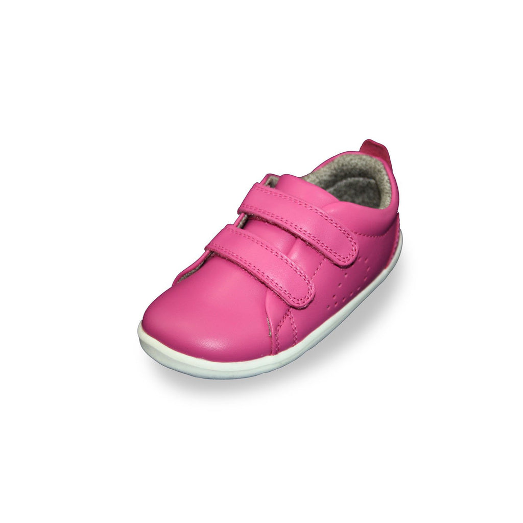 Bobux Step Up Grass Court raspberry barefoot shoes. From Cooshoo kids shoes.