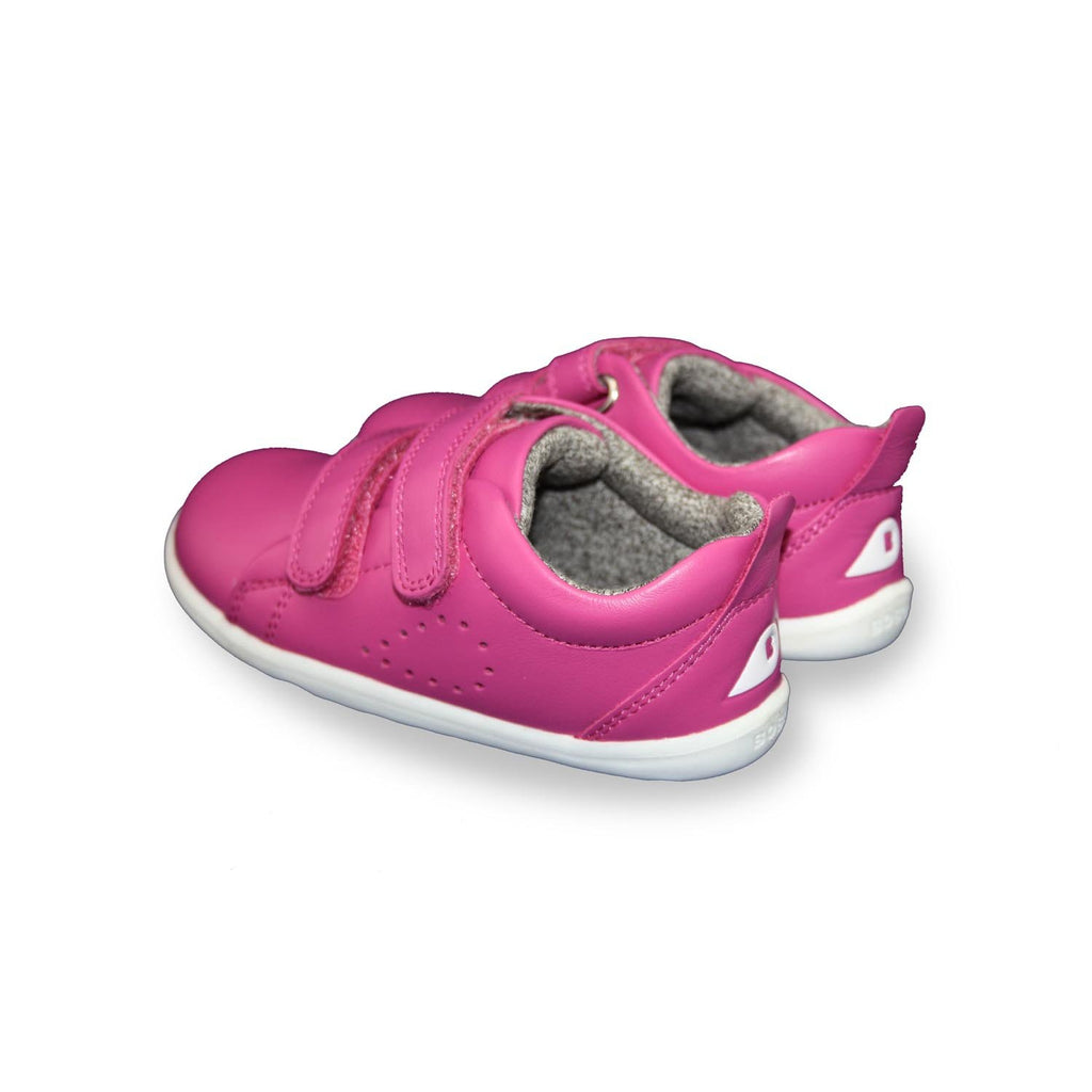 Heels of Bobux Step Up Grass Court raspberry barefoot shoes. From Cooshoo kids shoes.