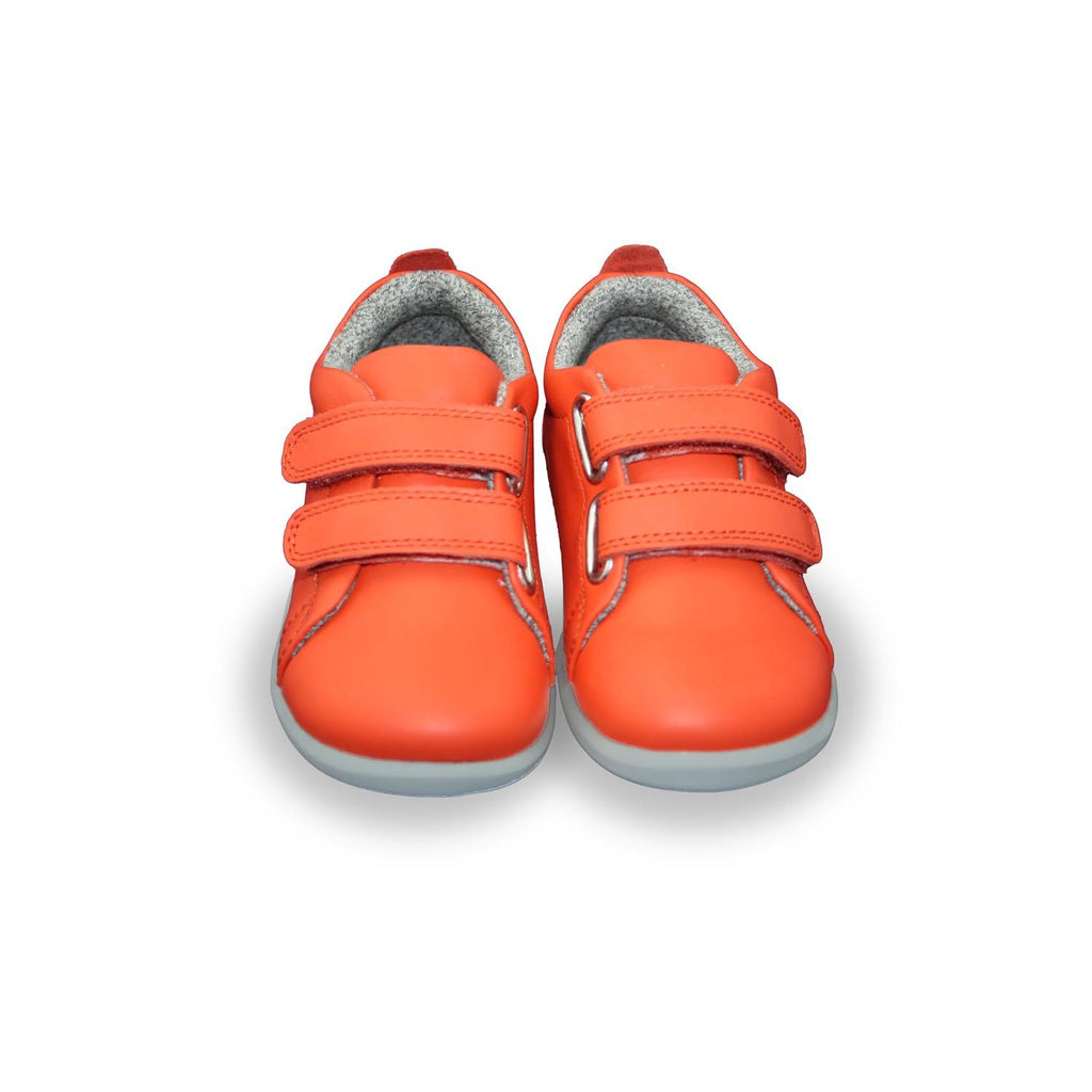 Pair of Bobux Step Up Grass Court orange barefoot kids shoes. From Cooshoo kids shoes.