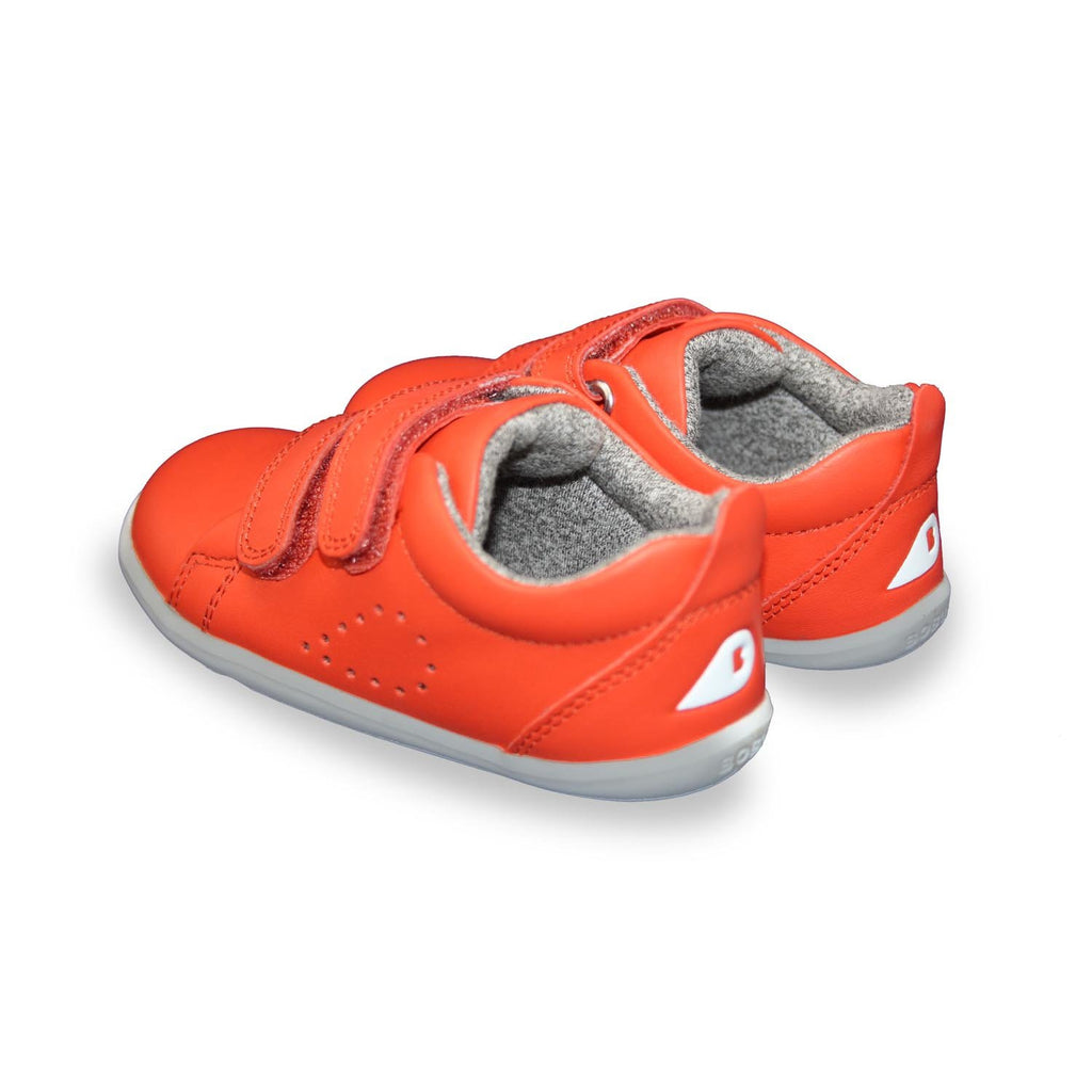 Heels of Bobux Step Up Grass Court orange barefoot kids shoes. From Cooshoo kids shoes.