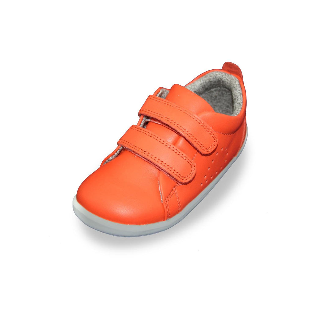 Bobux Step Up Grass Court orange barefoot kids shoes. From Cooshoo children's shoes.