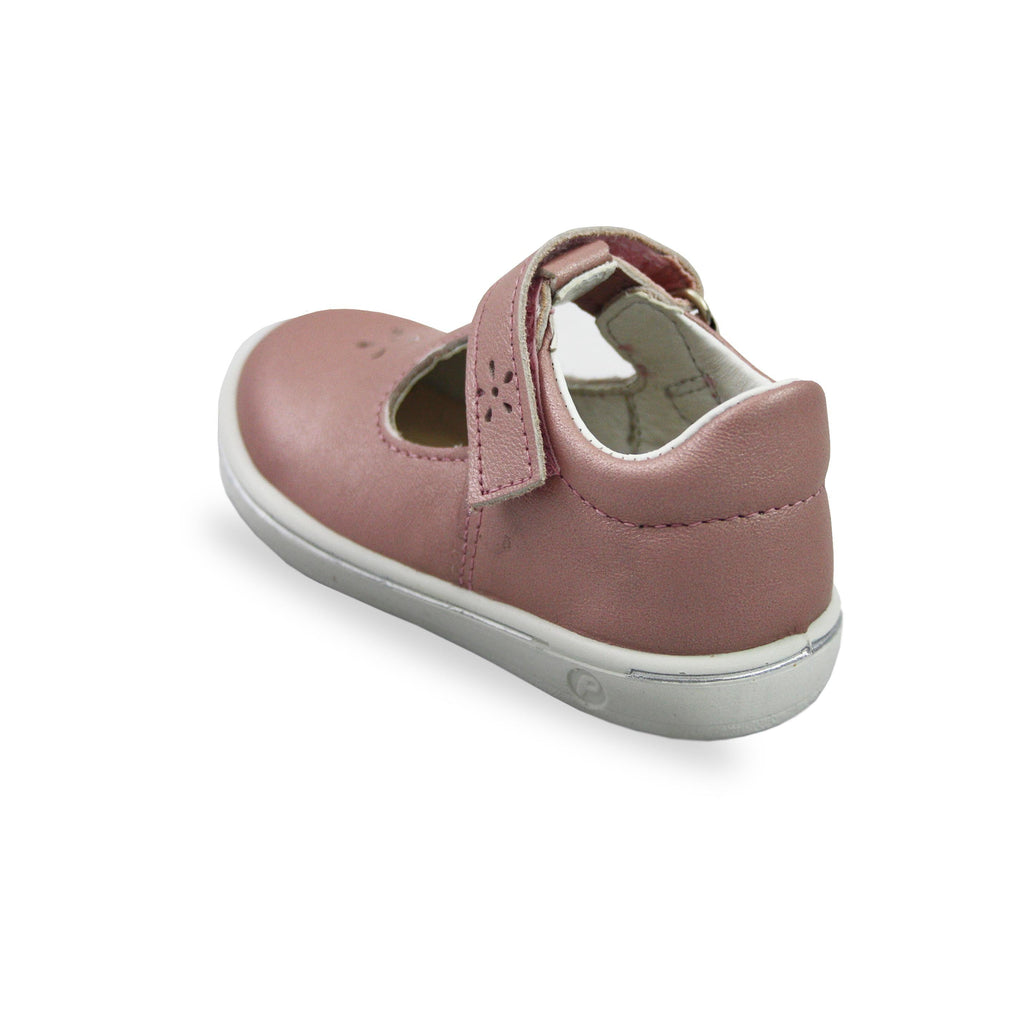 Heel of Ricosta Winona Rose Pink T-Bar Shoes. Cooshoo kids shoes.