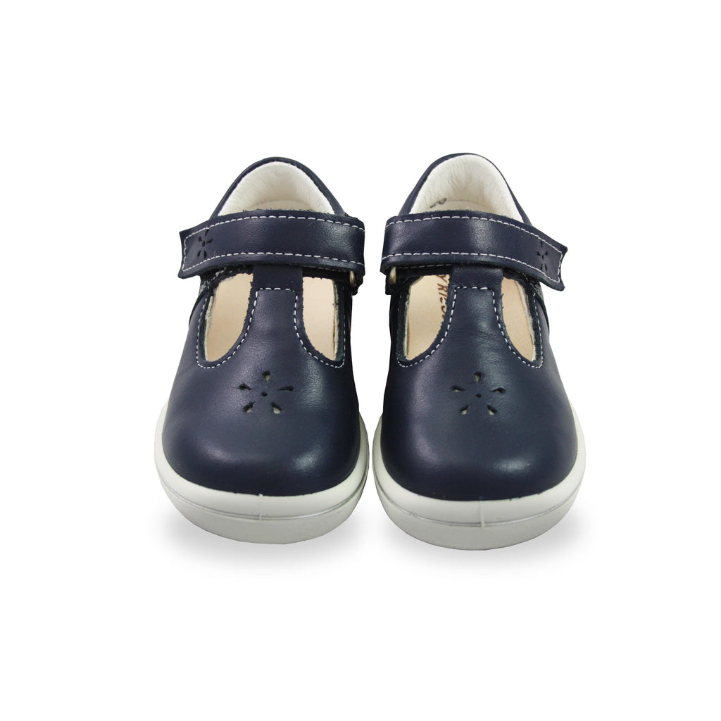 Pair of Ricosta Winona Navy Blue T-Bar Shoes. Cooshoo kids shoes.