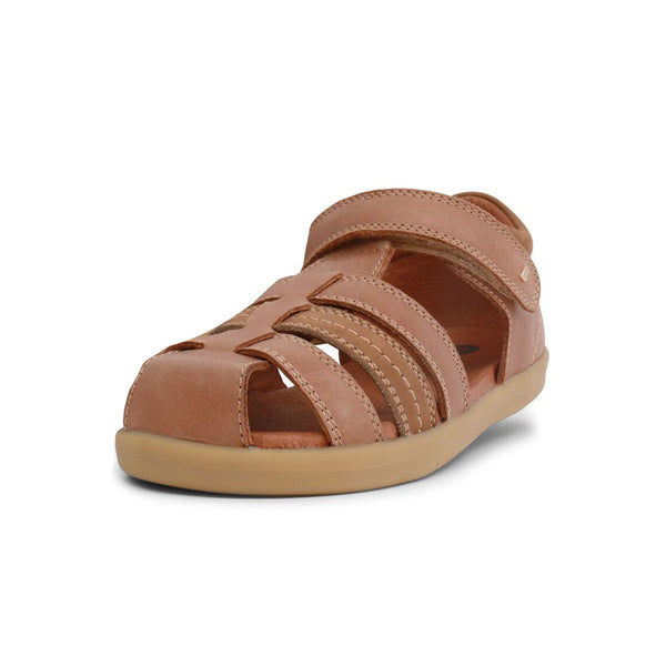 Bobux Kid+ Roam Caramel Closed Sandals, barefoot children's shoes. From Cooshoo fitted childrens shoes.