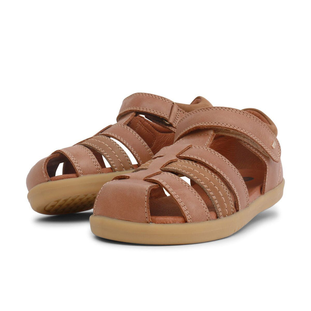 Pair of Bobux Kid+ Roam Caramel Closed Sandals, barefoot children's shoes. From Cooshoo fitted childrens shoes.