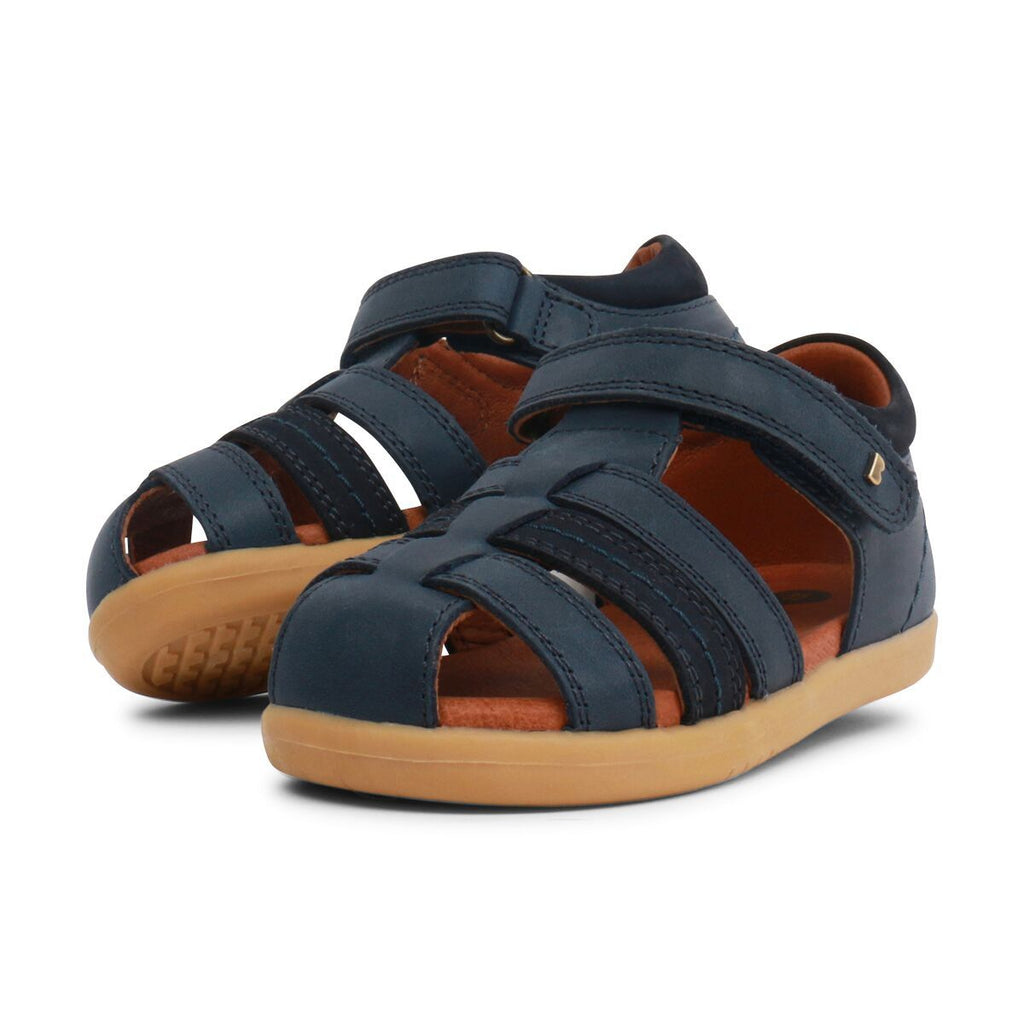 Pair of Bobux I-Walk Roam Navy Closed Sandals, barefoot children's shoes. From Cooshoo fitted childrens shoes.
