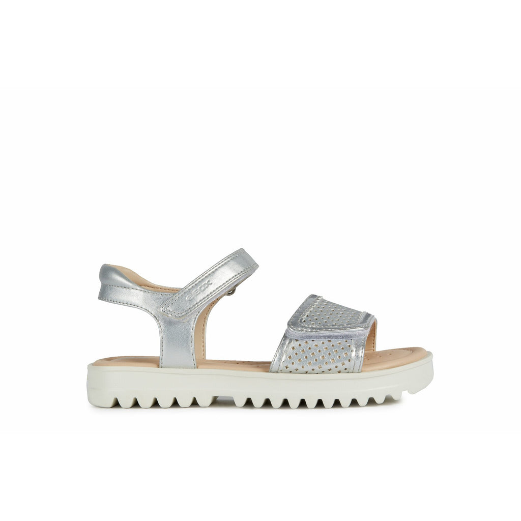 Profile Geox J S Coralie Silver Sandals. Cooshoo kids shoes.