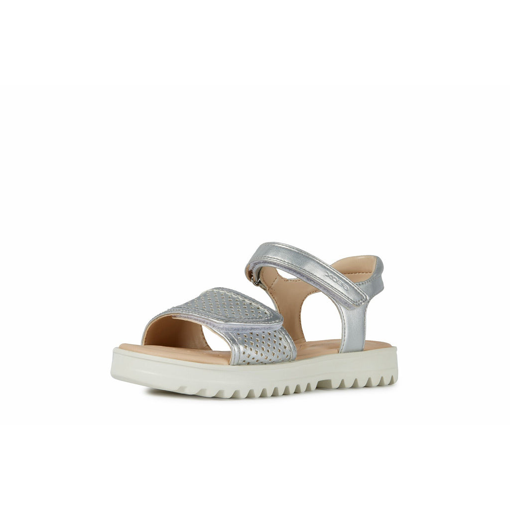 Geox J S Coralie Silver Sandals. Cooshoo kids shoes.