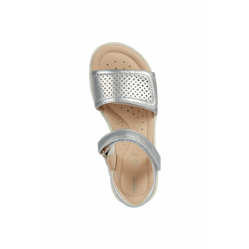Top of Geox J S Coralie Silver Sandals. Cooshoo kids shoes.