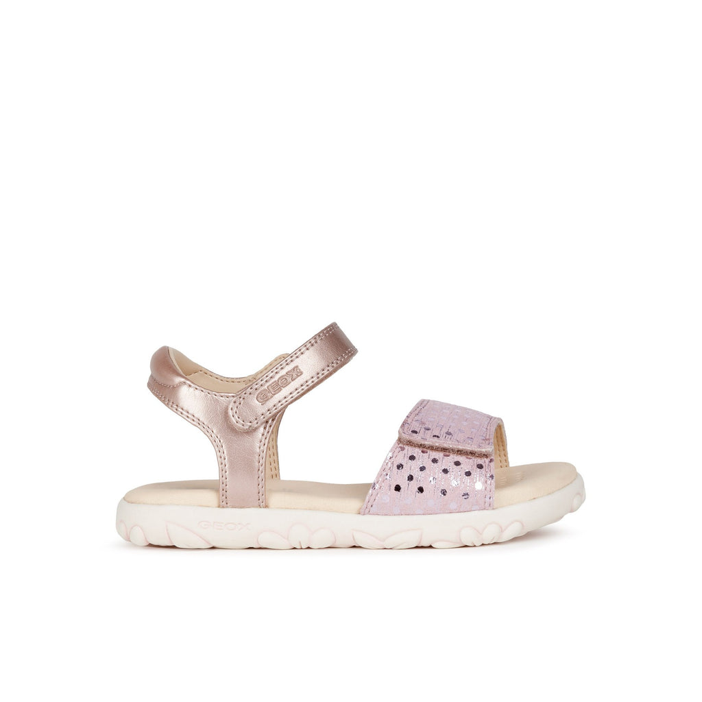 Profile of GEOX Haiti Antique Rose Pink Girls Sandal. Cooshoo kids shoes.