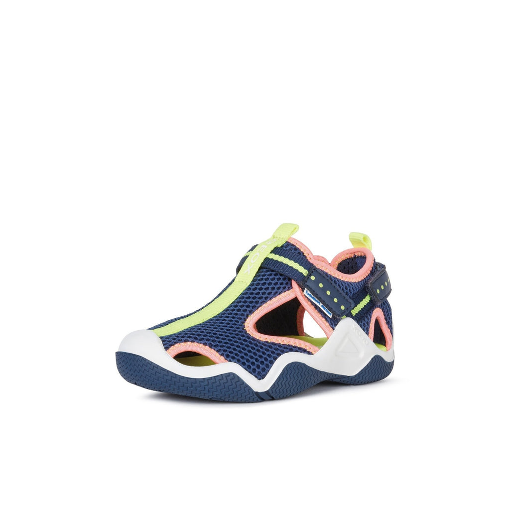 GEOX J Wader Navy & Fluorescent Pink Neoprene Water Sandals. Cooshoo kids shoes.
