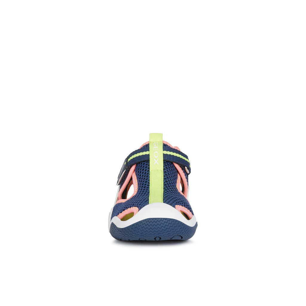 Toe box of GEOX J Wader Navy & Fluorescent Pink Neoprene Water Sandals. Cooshoo kids shoes.