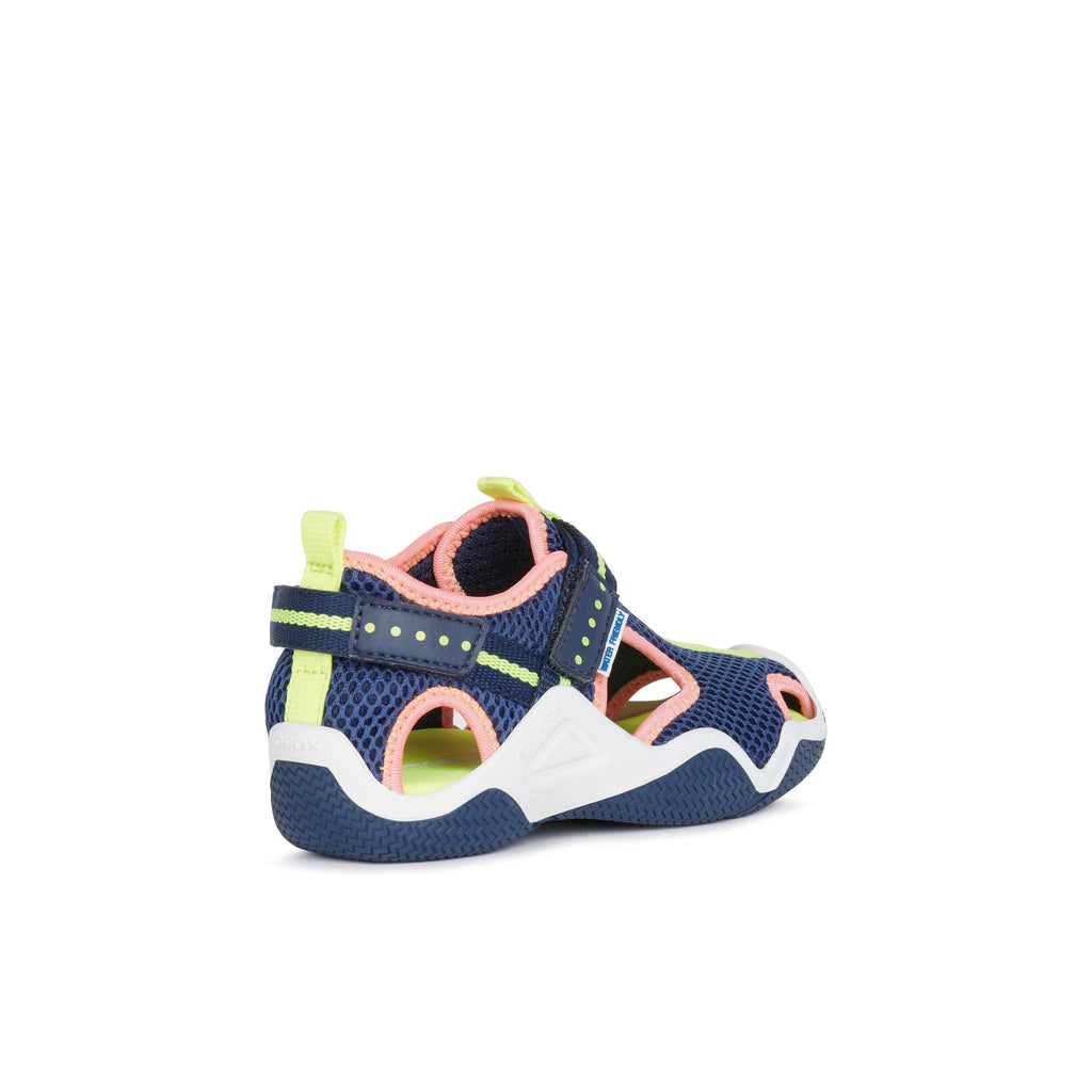 Heel of GEOX J Wader Navy & Fluorescent Pink Neoprene Water Sandals. Cooshoo kids shoes.