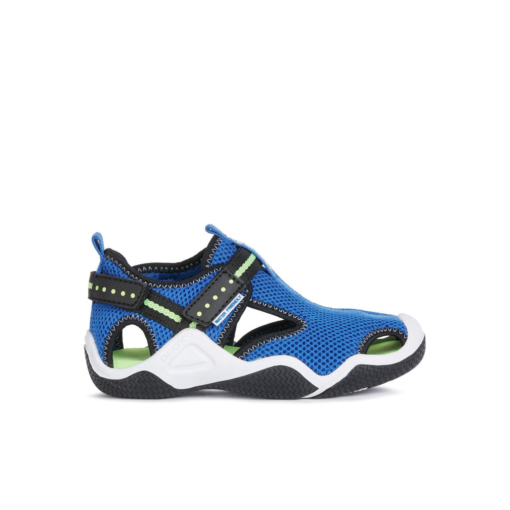 Profile of GEOX J Wader Royal Blue & Fluorescent Green Neoprene Water Boys Sandals. Cooshoo kids shoes.