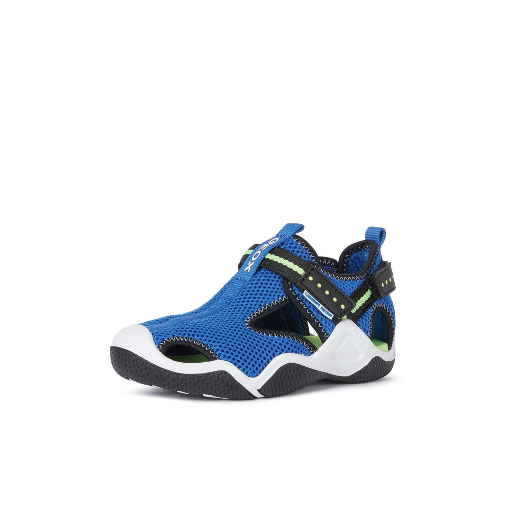 GEOX J Wader Royal Blue & Fluorescent Green Neoprene Water Boys Sandals. Cooshoo kids shoes.