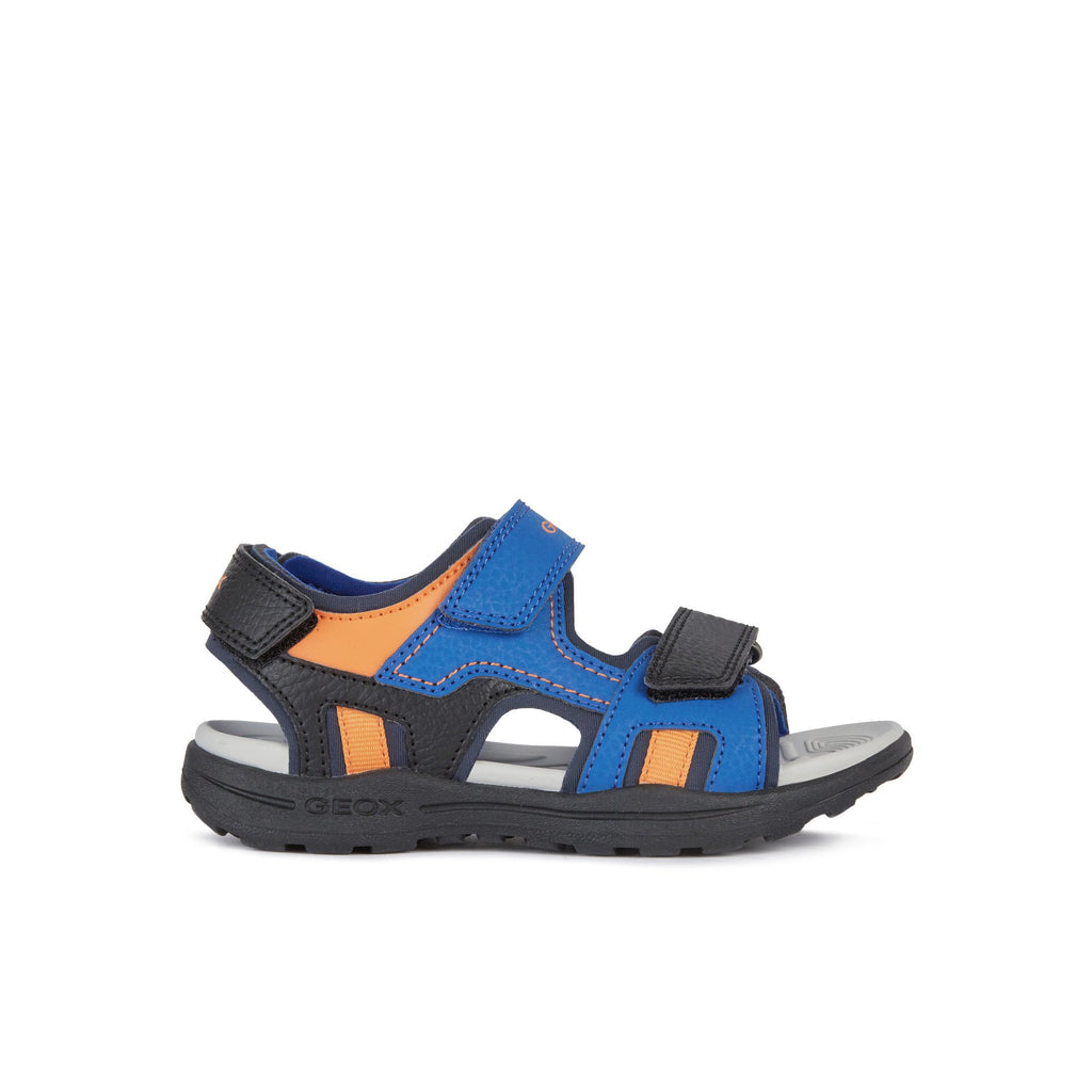 GEOX Vaniett Royal Blue and Orange Sandals. Cooshoo kids shoes.