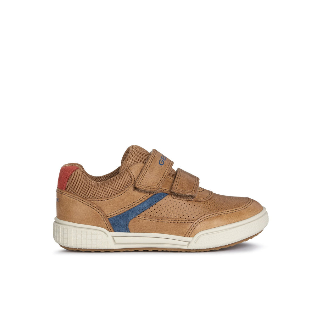 Profile of GEOX J Poseido Cognac Tan Trainer Shoes. Cooshoo kids shoes.