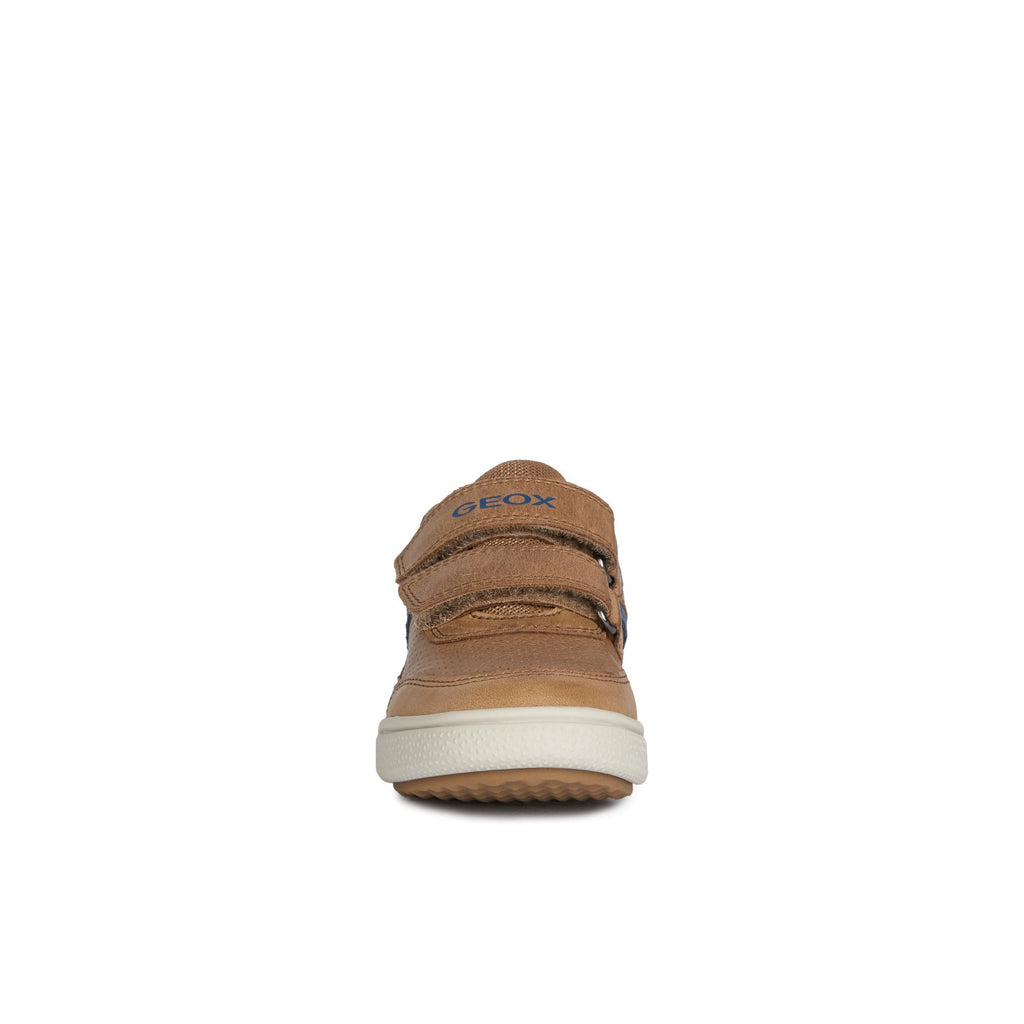 Toe box of Profile of GEOX J Poseido Cognac Tan Trainer Shoes. Cooshoo kids shoes.