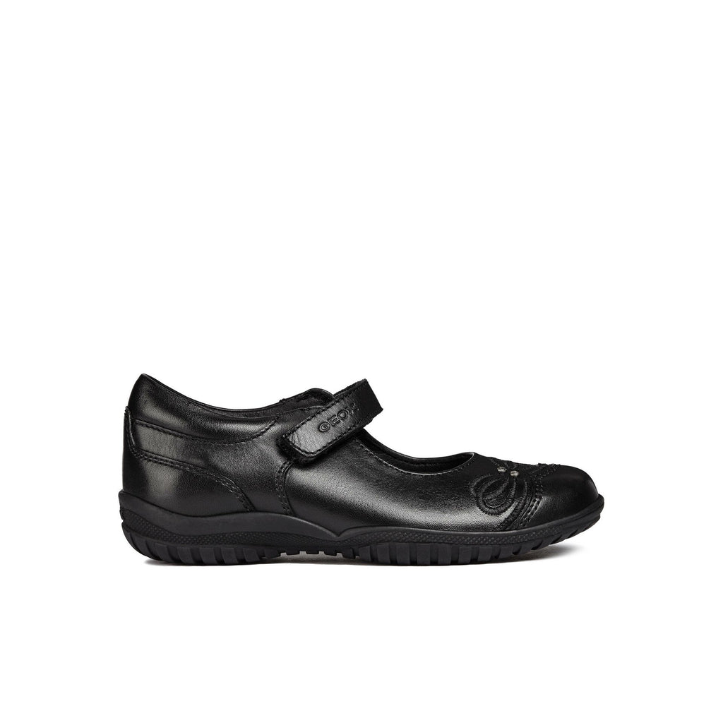 Side view of Geox JR Shadow Black Patent Mary Jane School Shoes With Heart Motif. From Cooshoo fitted childrens shoes.