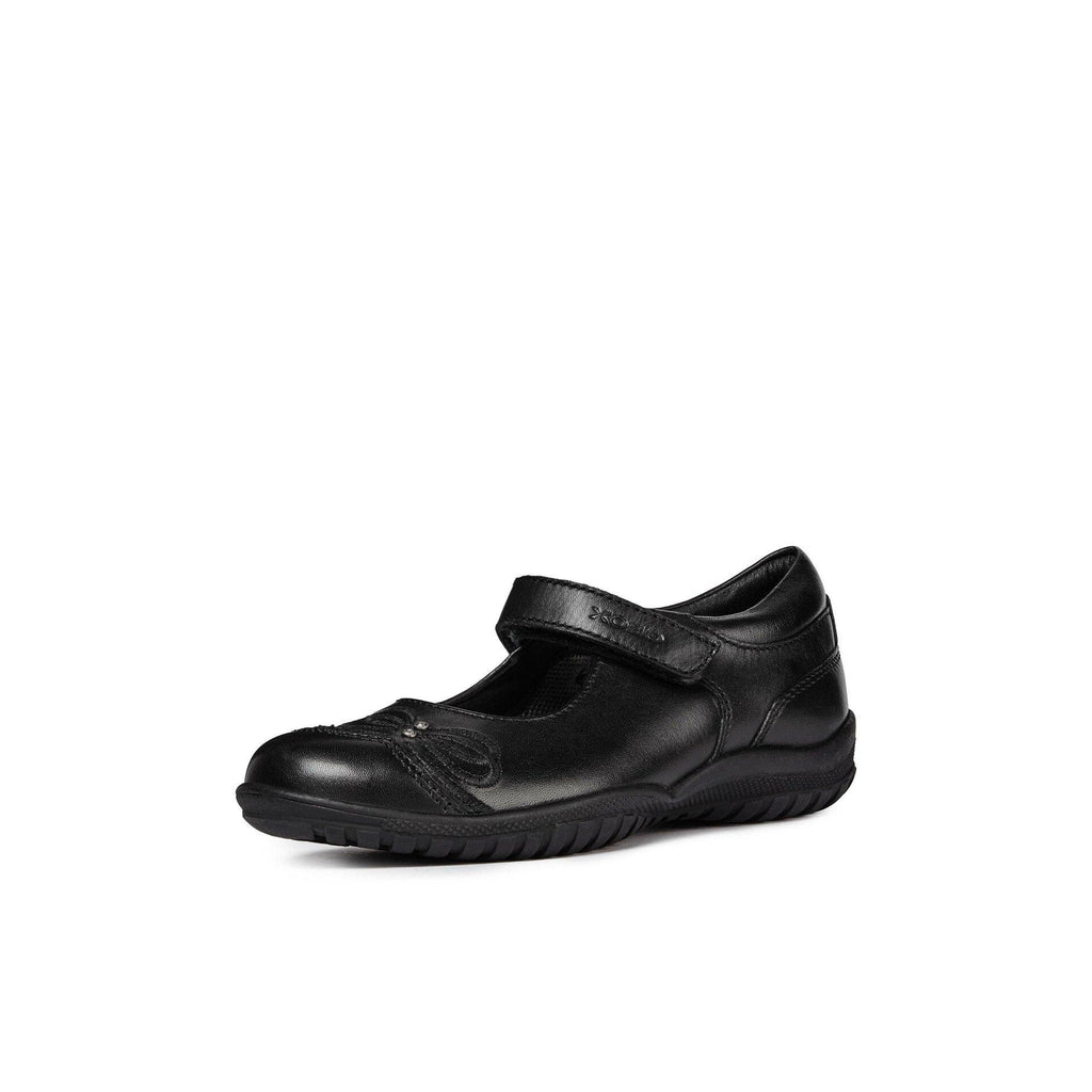 Geox JR Shadow Black Patent Mary Jane School Shoe With Heart Motif. From Cooshoo fitted childrens shoes.
