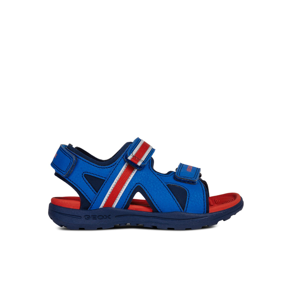 GEOX J Gleeful Blue and Red Sandals children's shoes. From Cooshoo fitted kids shoes. Side view.
