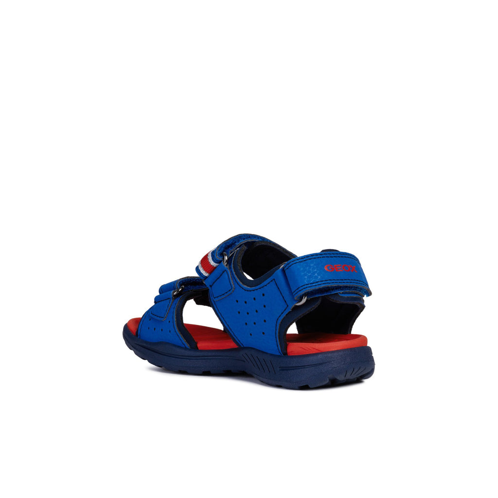 GEOX J Gleeful Blue and Red Sandals children's shoes. From Cooshoo fitted kids shoes. Heel view.