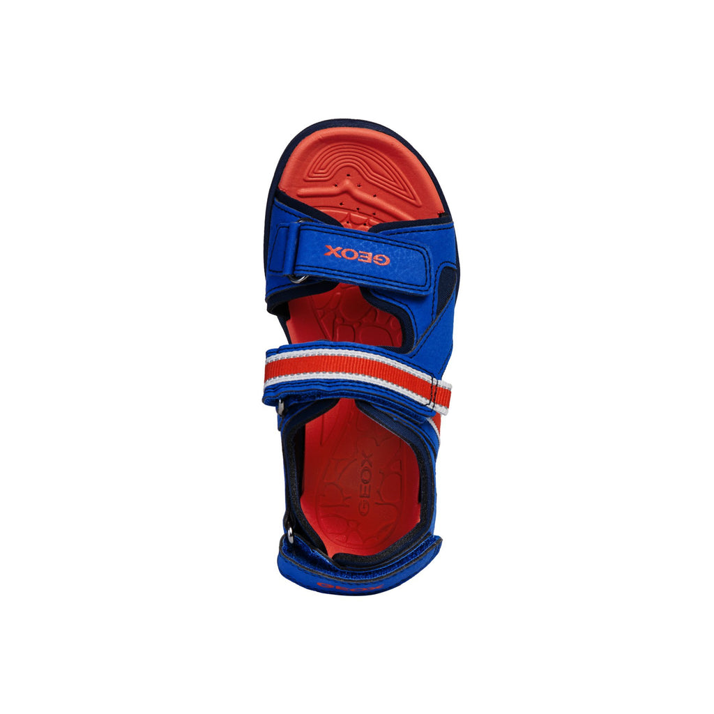GEOX J Gleeful Blue and Red Sandals children's shoes. From Cooshoo fitted kids shoes. Top view.