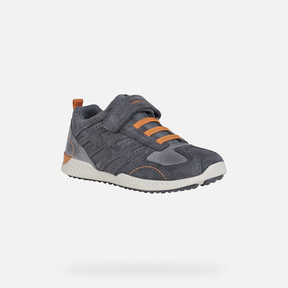 GEOX J Snake Grey & Orange Trainers. Cooshoo children's shoes.