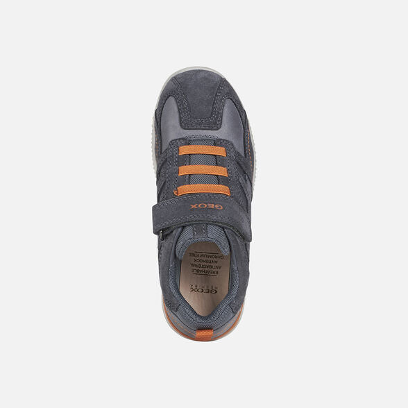 Top of GEOX J Snake Grey & Orange Trainers. Cooshoo children's shoes.