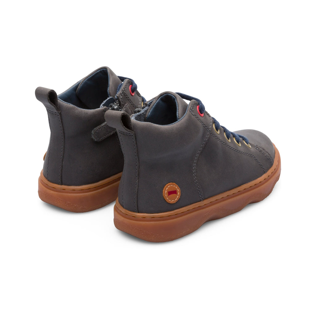 Back of Camper Melody Glomm Grey High-top Boots. Cooshoo children's shoes.
