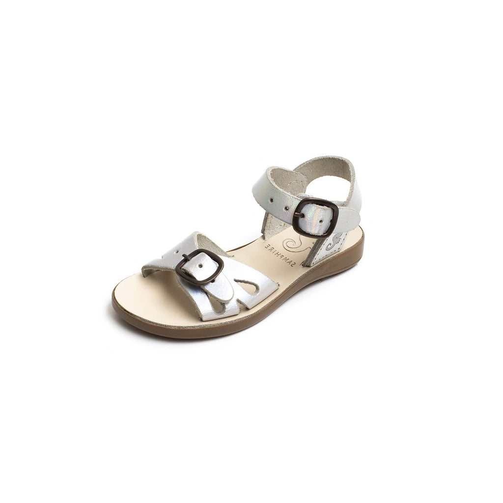Samphire Lyonce Iridescent Silver Waterproof Sandals. From Cooshoo kids shoes.