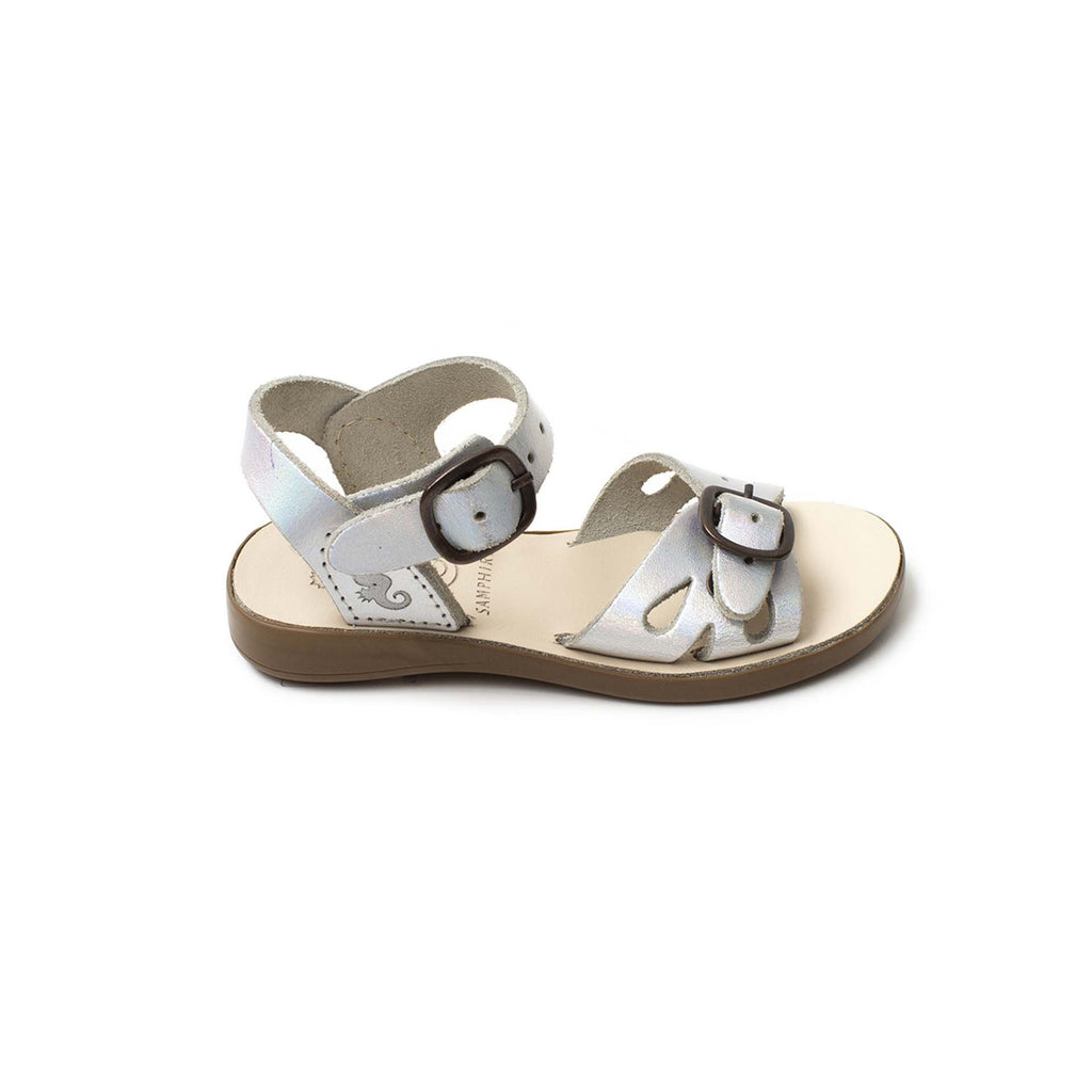 Profile of Samphire Lyonce Iridescent Silver Waterproof Sandals. From Cooshoo kids shoes.