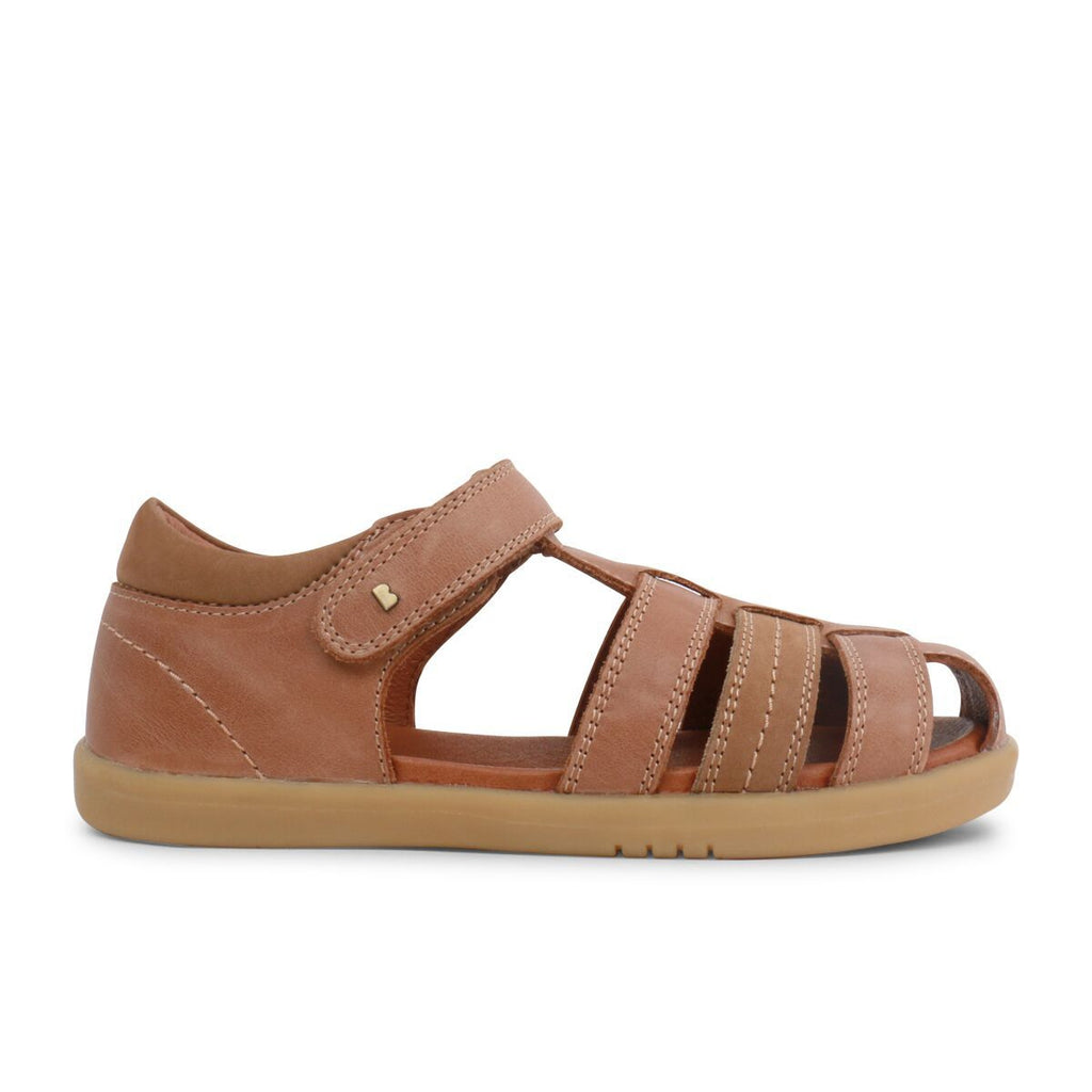 Side view of Bobux Kid+ Roam Caramel Closed Sandals, barefoot children's shoes. From Cooshoo fitted childrens shoes.