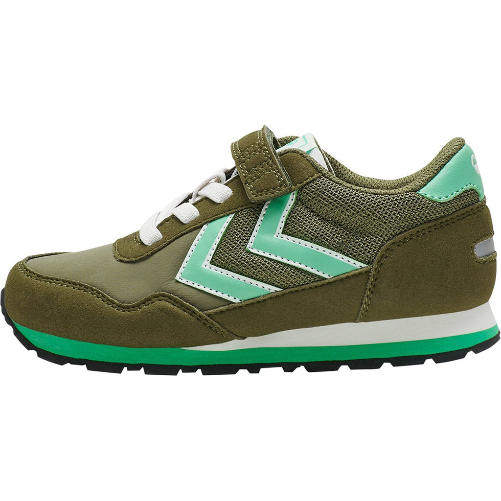 Profile of Hummel Reflex Junior Olive Green Trainer. Cooshoo shoes for kids.