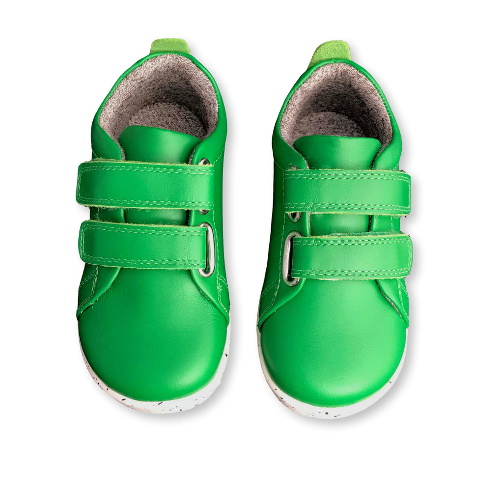Pair of Bobux I Walk Grass Court Emerald Green Trainer Shoes. Cooshoo kids shoes.
