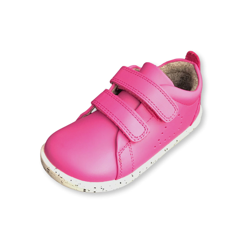 Bobux I Walk Grass Court Raspberry Pink Trainer Shoe. Cooshoo kids shoes.