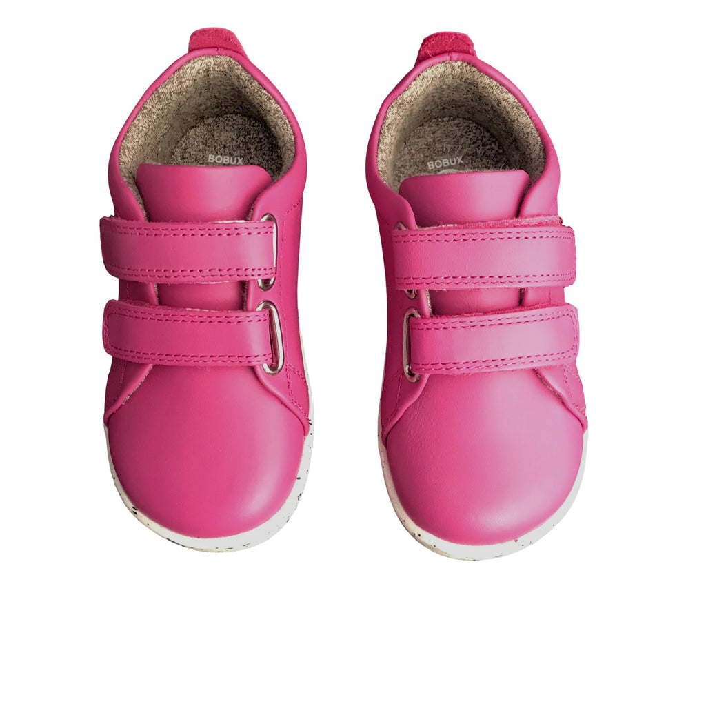 Pair of Bobux I Walk Grass Court Raspberry Pink Trainer Shoes. Cooshoo kids shoes.