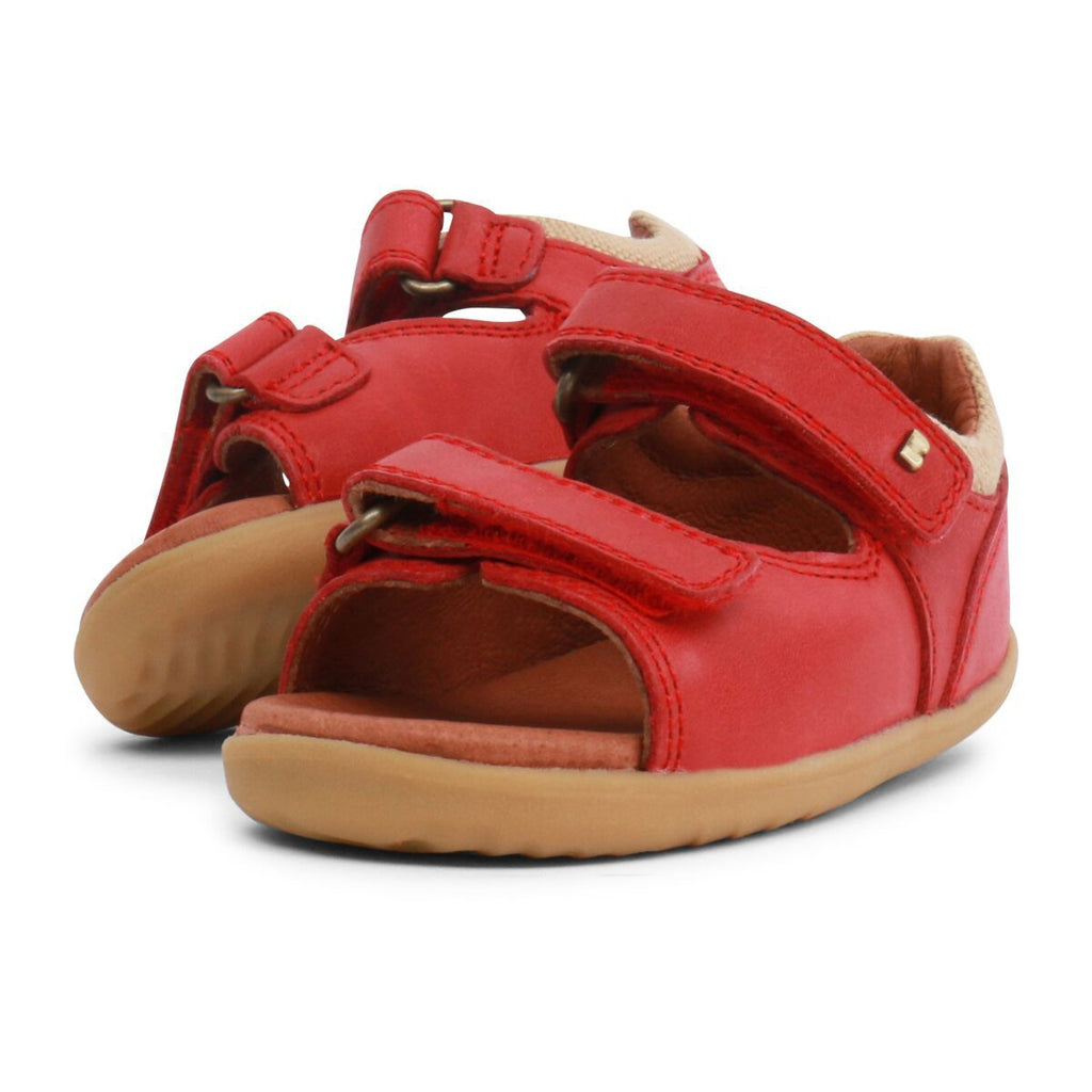 Pair of Bobux Step Up Driftwood Red Open Toe Sandals, barefoot children's shoes. From Cooshoo fitted childrens shoes.