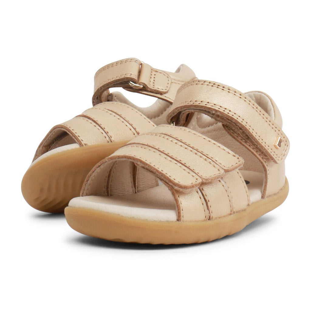 Pair of Bobux Step Up Hampton Gold Sandals, barefoot children's shoes. From Cooshoo kids shoes.