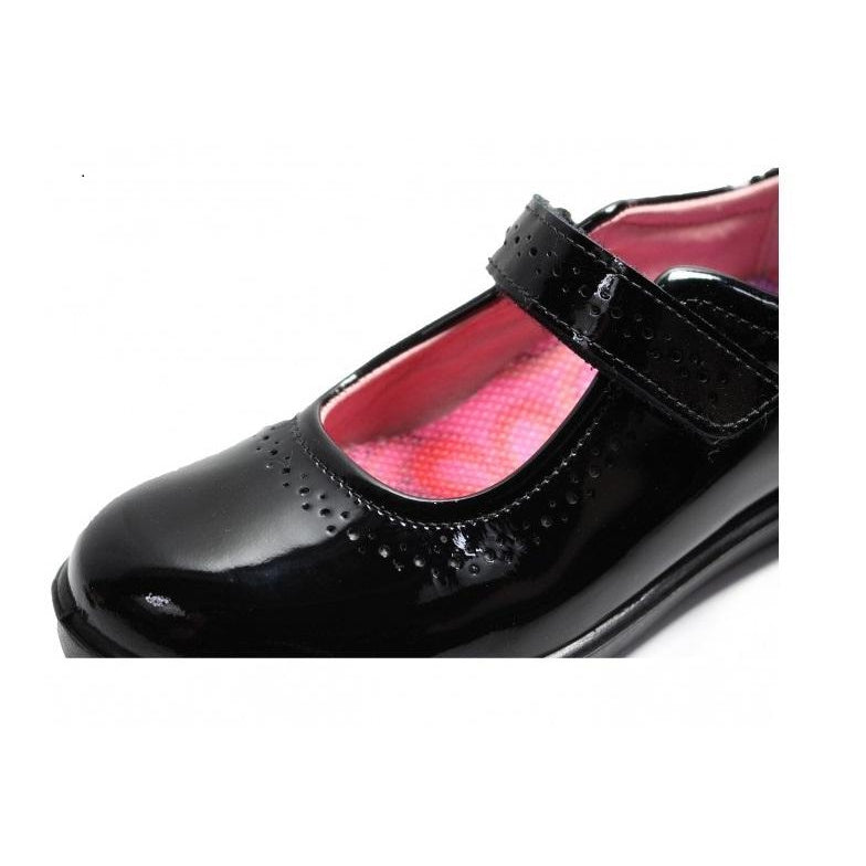 Toe box of Ricosta Lillia Black Patent School Shoes. Cooshoo school shoes.
