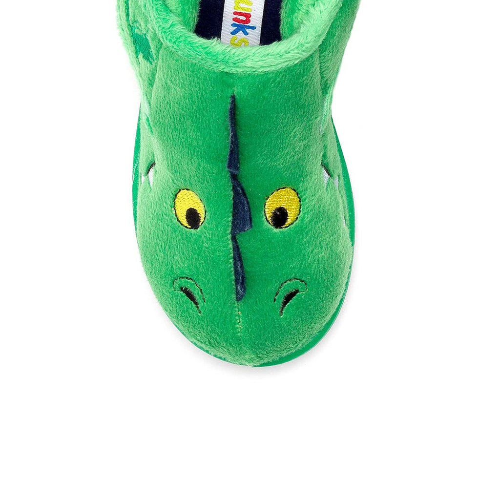 Top of Chipmunks Green Scorch Dinosaur Slippers. Cooshoo children's shoes.